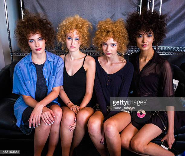 Models backstage at the A Detacher show during Spring 2016 New York Fashion Week at Pier 59 on September 13 2015 in New York City