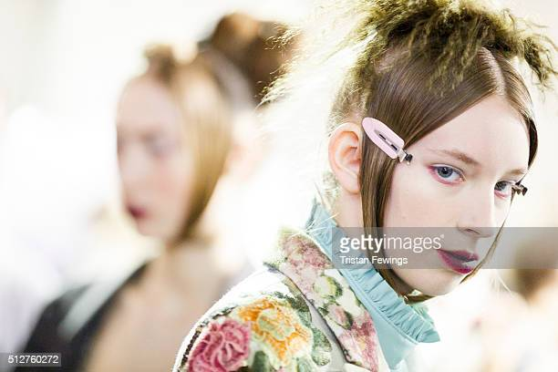 Models backstage at the Antonio Marras fashion show during Milan Fashon Week Fall/Winter 2016/17 on February 27 2016 in Milan Italy