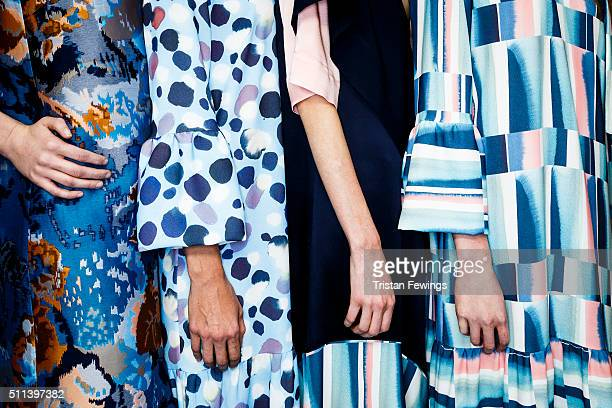 Models backstage at the Eudon Choi show during London Fashion Week Autumn/Winter 2016/17 at BFC Show Space Brewer Street on February 19 2016 in...
