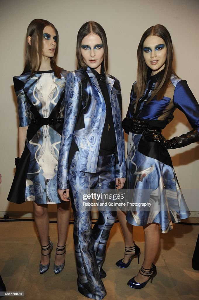 Models backstage at the Prabal Gurung fall 2012 fashion show during Mercedes-Benz Fashion Week at the IAC Building on February 11, 2012 in New York City.