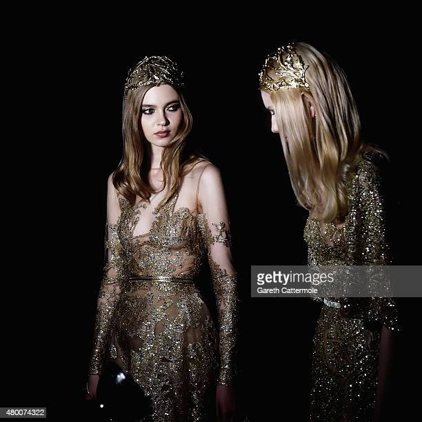 Models backstage before the Elie Saab show as part of Paris Fashion Week Haute Couture Fall/Winter 2015/2016 on July 8 2015 in Paris France