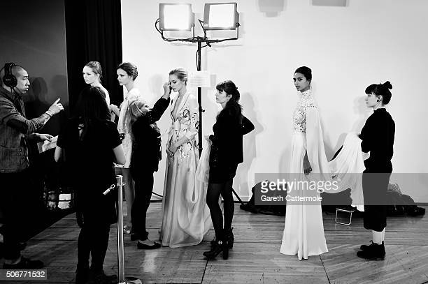 Models backstage before the Ralph Russo Spring Summer 2016 show as part of Paris Fashion Week on January 25 2016 in Paris France