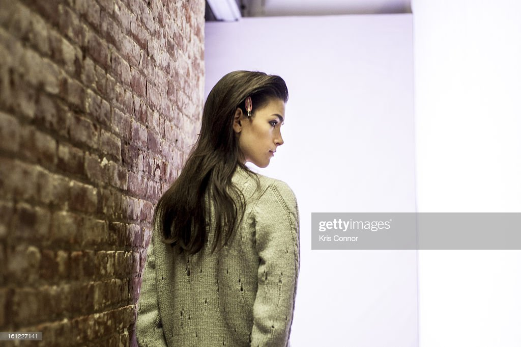 Models backstage during the Rebecca Taylor Fall 2013 show during Mercedes-Benz Fashion Week at Highline Stages on February 9, 2013 in New York City.