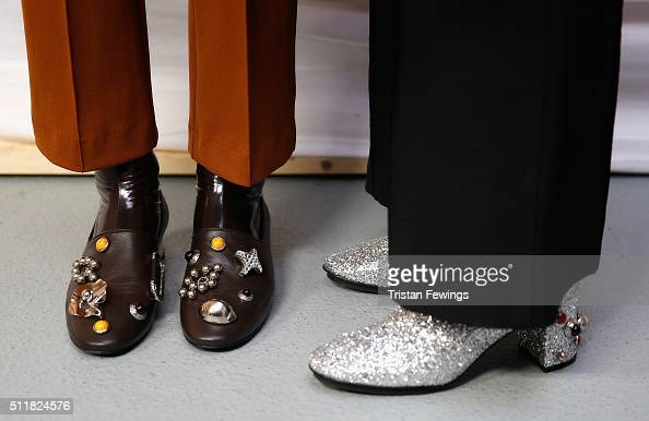 Models backstage shoe detail ahead of the Toga show during London Fashion Week Autumn/Winter 2016/17 at Brewer Street Car Park on February 23 2016 in...