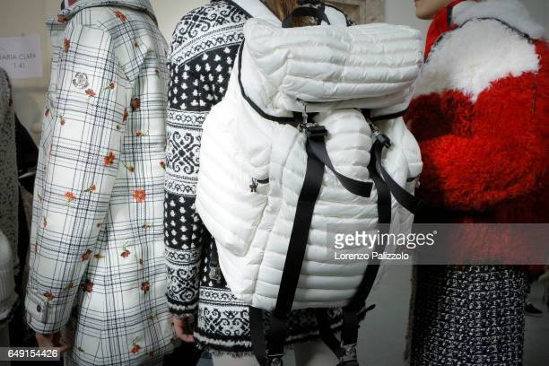 Models bag details are seen backstage before the Moncler Gamme Rouge show as part of the Paris Fashion Week Womenswear Fall/Winter 2017/2018 on March...
