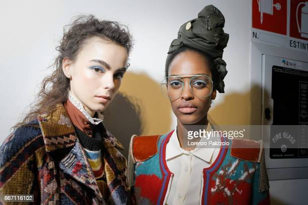 Models beauty backstage detail are seen backstage ahead of the Stella Jean show during Milan Fashion Week Fall/Winter 2017/18 on February 26 2017 in...