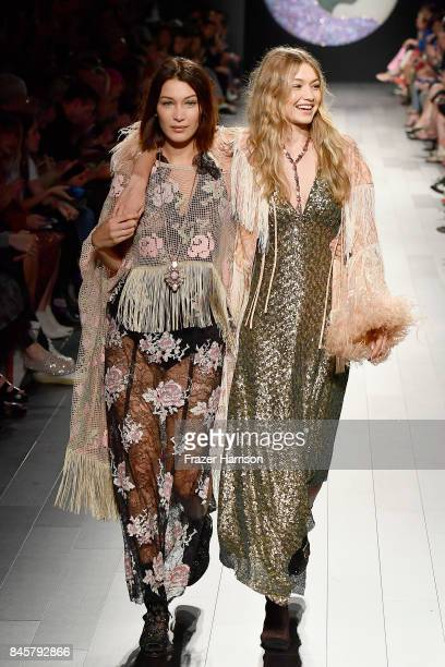 Models Bella Haddid and Gigi Hadid walk the runway for Anna Sui fashion show during New York Fashion Week The Shows at Gallery 1 Skylight Clarkson Sq...