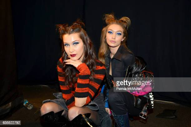 Models Bella Hadid and Gigi Hadid pose backstage at Anna Sui Fall/Winter 2017 Show during New York Fashion Week The Shows on February 15 2017 in New...