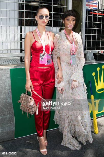 Models Bella Hadid and Winnie Harlow attend the Monaco Formula 1 Grand Prix at the Monaco street circuit on May 28 2017 in Monaco