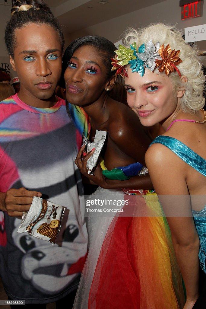 Models Bello Sanchez Hadassah Richardson and Ava Capra pose backstage during KIA STYLE360 hosts Tumbler and Tipsy by Michael Kuluva on September 16...