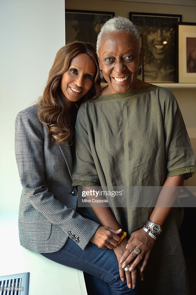 Models Bethann Hardison (L) and Iman pose for a picture on September 12, 2013 at IMAN Cosmetics in New York City. Hardison is the head of the Diversity Coalition, which is calling out the fashion industry alledging racism on the runway.