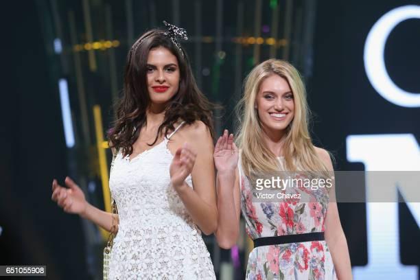 Models Bojana Krsmanovic and Caroline Lowe walk the runway during the Liverpool Fashion Fest Spring/Summer 2017 at Televisa San Angel on March 9 2017...