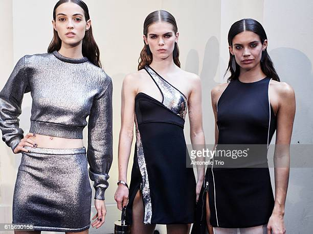 Models Camille Hurel Sandra Schmidt and Sara Sampaio poses prior the Mugler show as part of the Paris Fashion Week Womenswear Spring/Summer 2017 on...