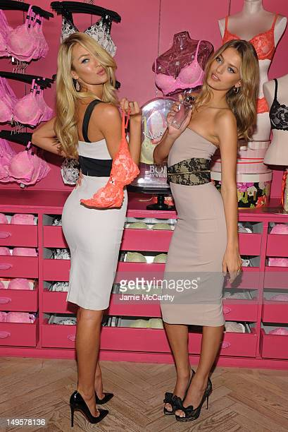Models Candice Swanepoel and Bregje Heinen attend Victoria's Secret Angels launch Body by Victoria at Victoria's Secret SoHo on July 31 2012 in New...