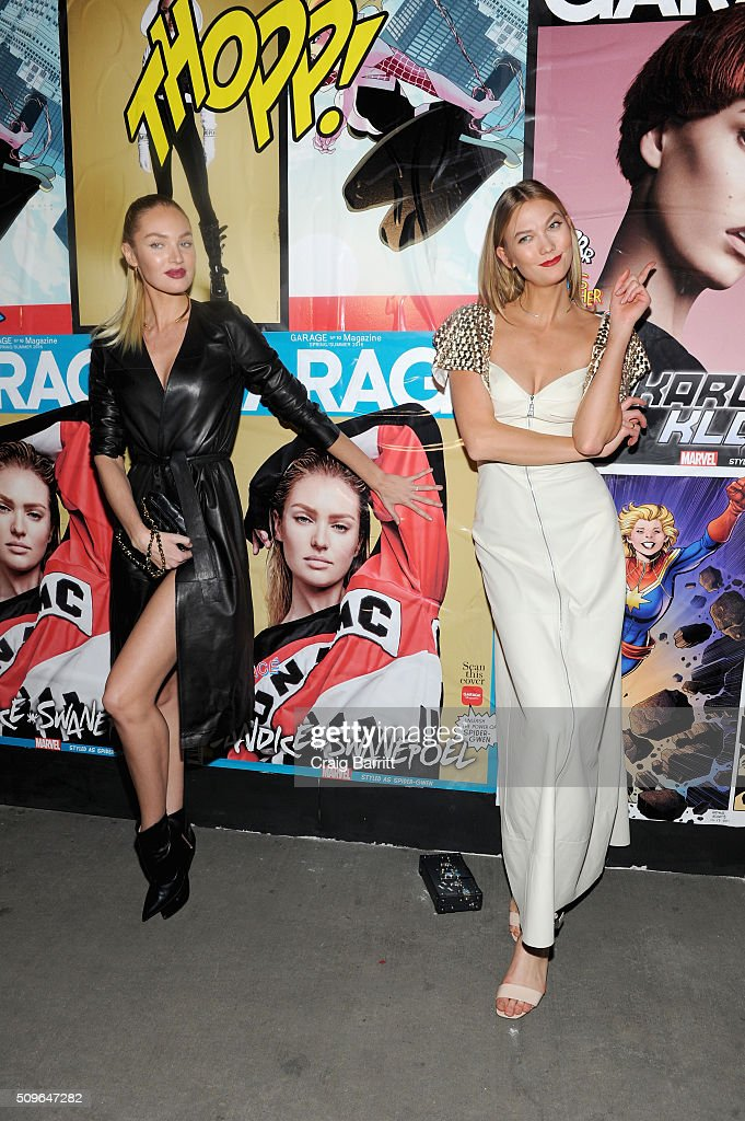 Models <a gi-track='captionPersonalityLinkClicked' href=/galleries/search?phrase=Candice+Swanepoel&family=editorial&specificpeople=4357958 ng-click='$event.stopPropagation()'>Candice Swanepoel</a> (L) and <a gi-track='captionPersonalityLinkClicked' href=/galleries/search?phrase=Karlie+Kloss&family=editorial&specificpeople=5555876 ng-click='$event.stopPropagation()'>Karlie Kloss</a> attend the Marvel and Garage Magazine New York Fashion Week Event on February 11, 2016 in New York City.