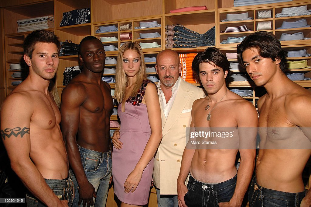 Models Chad Silberman, Usman Ojibara, Whitney Heleker, Fashion Designer Domenico Vacca, Tyler Phelan and Alex Alegria attends the Domenico Vacca Denim Preview at Domenico Vacca on July 15, 2010 in New York City.