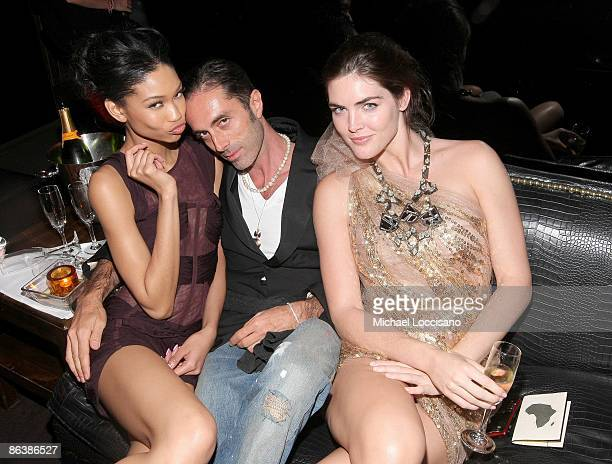 Models Chanel Iman and Hilary Rhoda with guest attend a party to benefit OrphanAid Africa hosted by Modelinia and Margherita Missoni at 1 Oak on May...