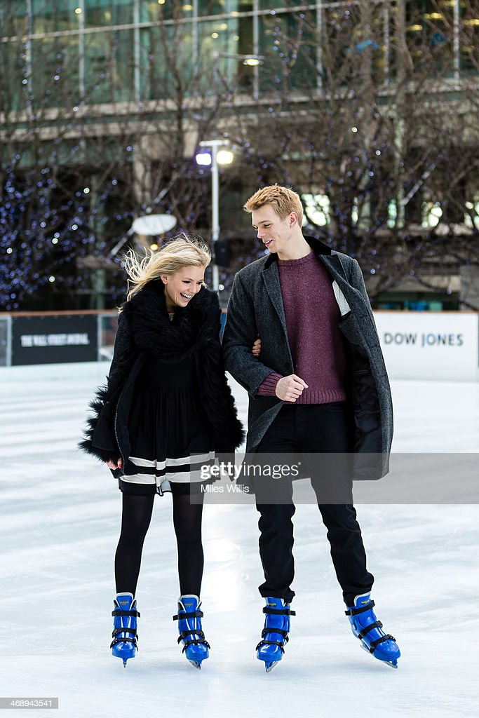 Models Charlie and Louisa pose to celebrate Valentine's Day at the Ice Rink Canary Wharf, London's longest-running ice rink at Canary Wharf on February 7, 2014 in London, England.
