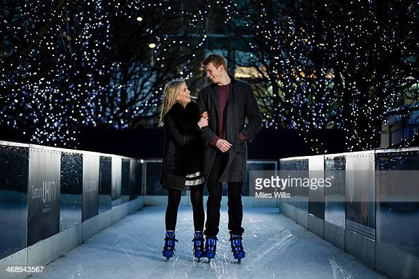 Models Charlie and Louisa pose to celebrate Valentine's Day at the Ice Rink Canary Wharf London's longestrunning ice rink at Canary Wharf on February...