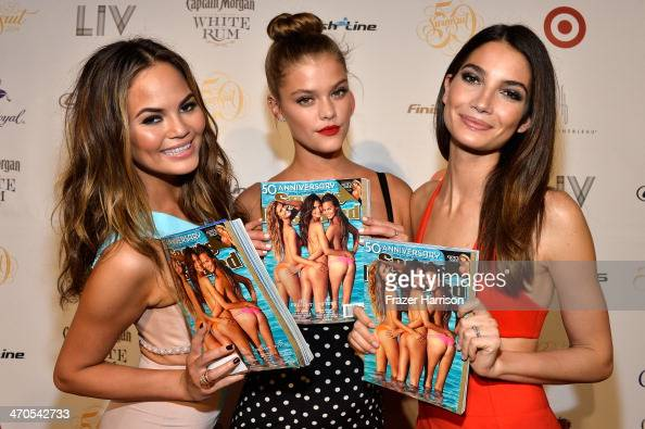 Models Chrissy Teigen Nina Agdal and Lily Aldridge attend Club SI Swimsuit at LIV Nightclub hosted by Sports Illustrated at Fontainebleau Miami on...