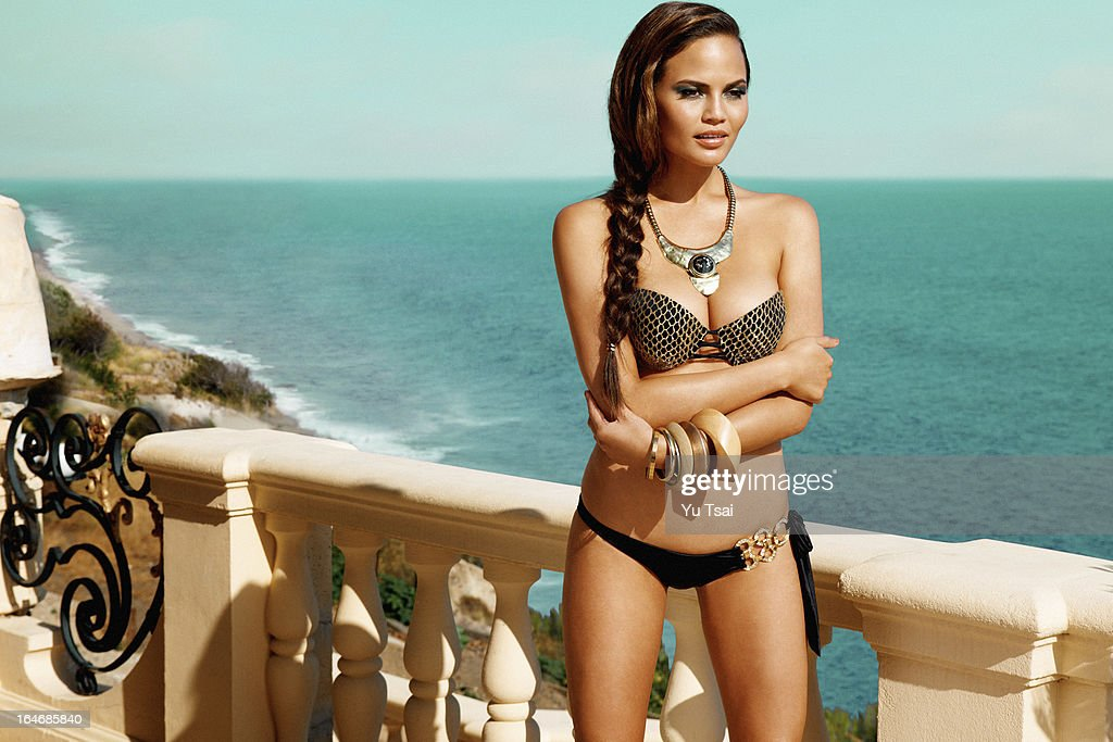 Models Christine Teigen and Valerie Van Der Graa are photographed for Beach Bunny on June 11, 2012 in Los Angeles, California. PUBLISHED IMAGE.
