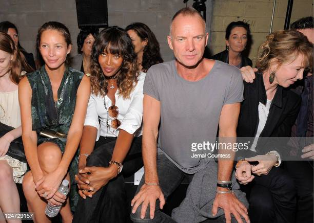 Models Christy Turlington Naomi Campbell singer Sting and Trudie Styler attend the Edun Spring 2012 fashion show during MercedesBenz Fashion Week at...