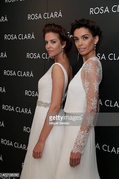 Models Clara Alonso and Joana Sanz pose during the Rosa Clara Fitting for the Rosa Clara 2016 Collection on May 4 2015 in Barcelona Spain