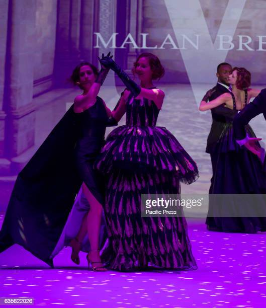 Models dance on runway for Malan Breton collection during New York Fashion week Fall 2017 at Madison Square Garden Theater