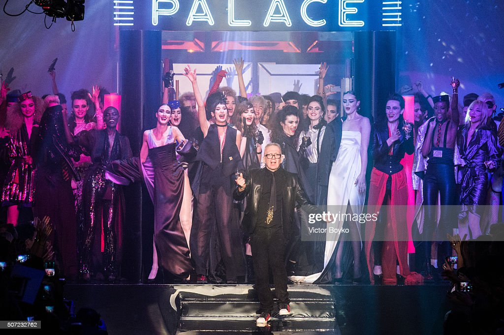 Models dance with designer JeanPaul Gaultier on the runway at the finale of the JeanPaul Gaultier Haute Couture Spring Summer 2016 show as part of...