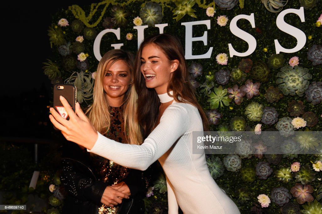 Models Danielle Knudson and Robin Holzken attend GUESS NYFW Fall Fashion Event at Public Hotel on September 13, 2017 in New York City.
