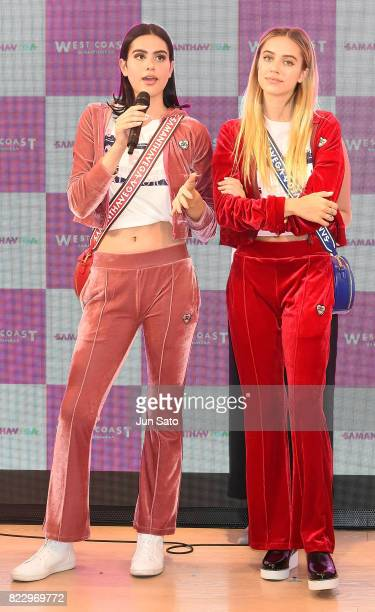 Models Delilah Hamlin and Amelia Hamlin attend the 'Samantha Vega' Millennial Sisters talk event at Samantha Thavasa Omotesanodo Gates Popup Digital...