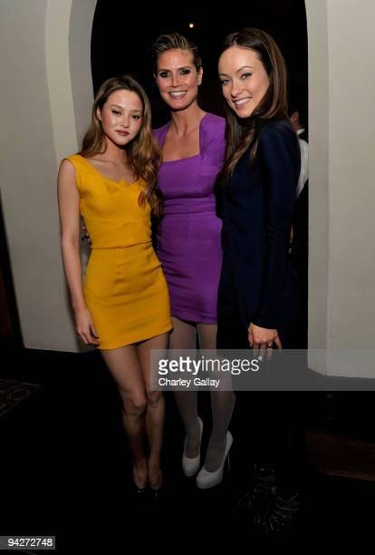 **EXCLUSIVE** Models Devon Aoki Heidi Klum and actress Olivia Wilde attend Roland Mouret's Rainbow Collection launch for NETAPORTER held at Chateau...