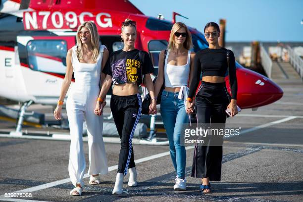 Models Devon Windsor Hannah Ferguson Nadine Leopold and Shanina Shaik are seen in Chelsea on August 26 2017 in New York City