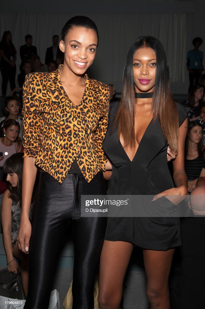 Models Devyn Abdullah (L) and <a gi-track='captionPersonalityLinkClicked' href=/galleries/search?phrase=Jessica+White&family=editorial&specificpeople=220742 ng-click='$event.stopPropagation()'>Jessica White</a> attend the Tadashi Shoji Spring 2014 fashion show at The Stage Lincoln Center on September 5, 2013 in New York City.