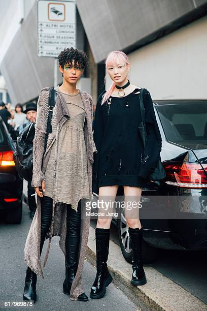 Models Dilone and Fernanda Ly in the pink and green eye makeup after the Max Mara show during Milan Fashion Week Spring/Summer 2017 on September 22...