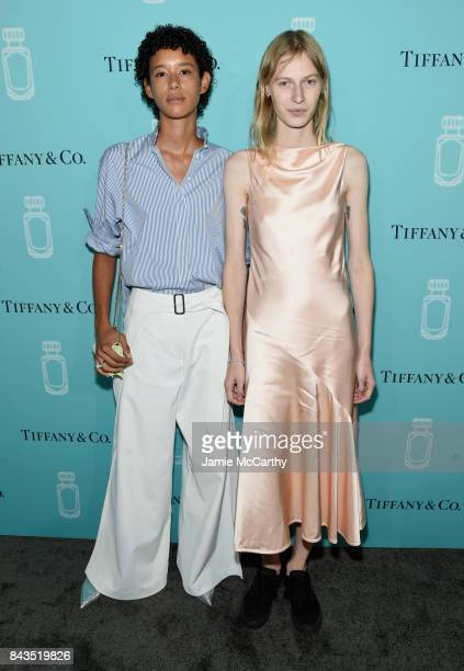Models Dilone and Julia Nobis attend the Tiffany Co Fragrance launch event on September 6 2017 in New York City