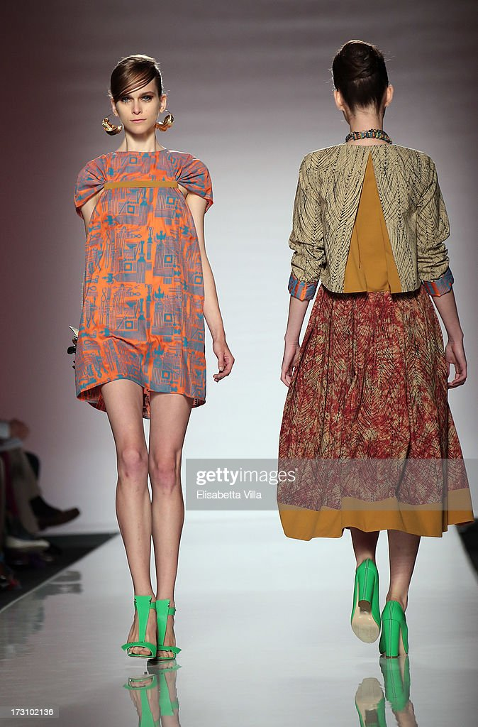 Models display a creation by Christie Brown during It's Ethical Fashion 'Bring Africa to Rome' catwalk collection S/S 2014 fashion show as part of AltaRoma AltaModa Fashion Week at Santo Spirito In Sassia on July 7, 2013 in Rome, Italy.