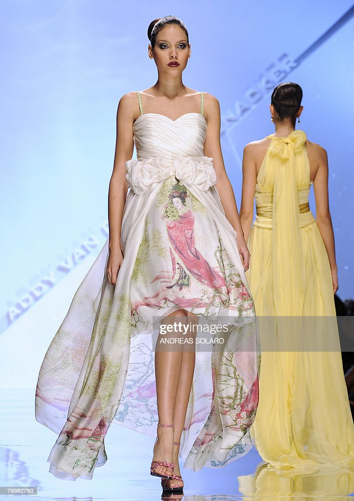 Models display a creation by Dutch fashion designer Addy Van Den Krommenacker during the Women SpringSummer 2008 Haute Couture collection of the Rome...