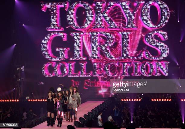 Models display clothes by Jamey on the runway during 'Tokyo Girls Collection 2008 A/W' at Yoyogi Gymnasium on September 6 2008 in Tokyo Japan The...
