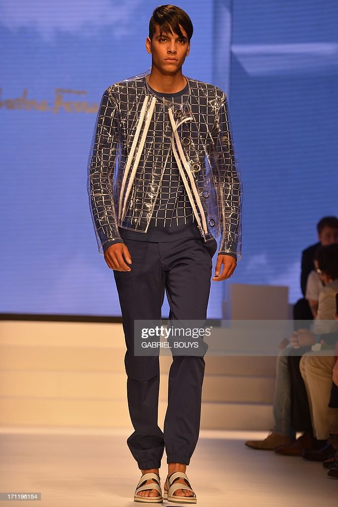 Models display creations as part of Salvatore Ferragamo Spring-Summer 2014 Menswear collection on June 23, 2013 during the fashion week in Milan.
