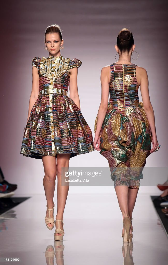 Models display creations by Kiki Clothing during It's Ethical Fashion 'Bring Africa to Rome' catwalk collection S/S 2014 fashion show as part of AltaRoma AltaModa Fashion Week at Santo Spirito In Sassia on July 7, 2013 in Rome, Italy.