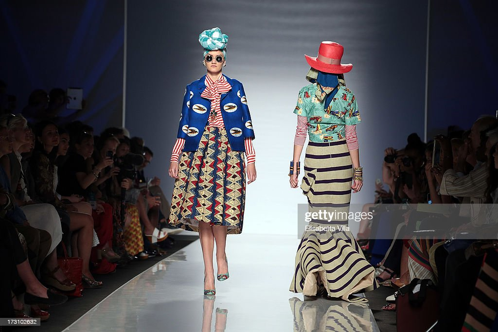 Models display creations by Stella Jean during It's Ethical Fashion 'Bring Africa to Rome' catwalk collection S/S 2014 fashion show as part of AltaRoma AltaModa Fashion Week at Santo Spirito In Sassia on July 7, 2013 in Rome, Italy.