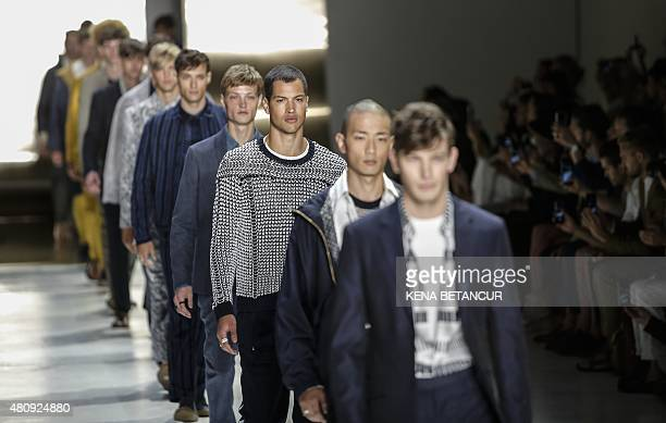 Models display creations of Perry Ellis during the New York Fashion Week Men's in New York on July 16 2015 AFP PHOTO/KENA BETANCUR