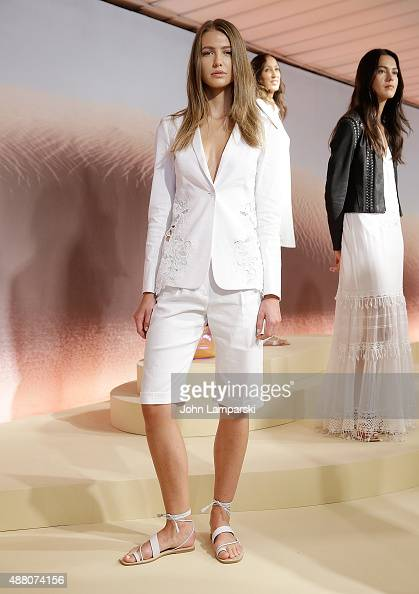 Models display fashions at the Elie Tahari presentation during Spring 2016 New York Fashion Week at Elie Tahari on September 13 2015 in New York City