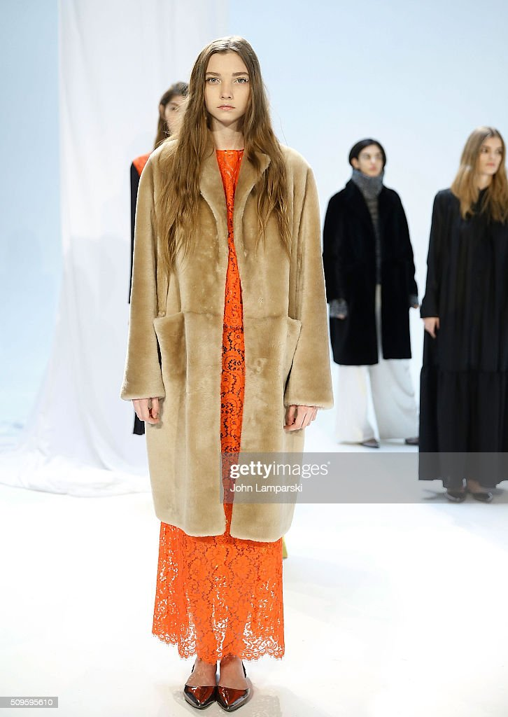 Models display fashions during the RHIE presentation Fall 2016 New York Fashion Week at Industria Superstudio on February 11, 2016 in New York City.