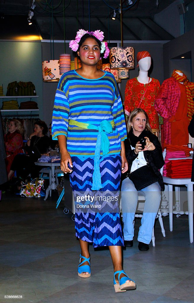Models display Gudrun Sjoden's creations at Gudrun Sjoden Store on May 6, 2016 in New York City.