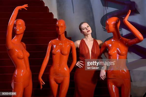 Models display products at the Roger Dubuis stand at the SIHH 2016 on January 18 2016 in Geneva Switzerland