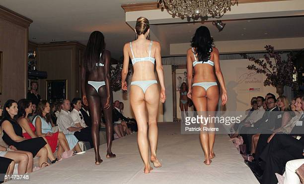 Models display underwear at the launch of the Lingerie Collection 'Delta by Anabella' created by singer Delta Goodrem and fashion designer Bruno...