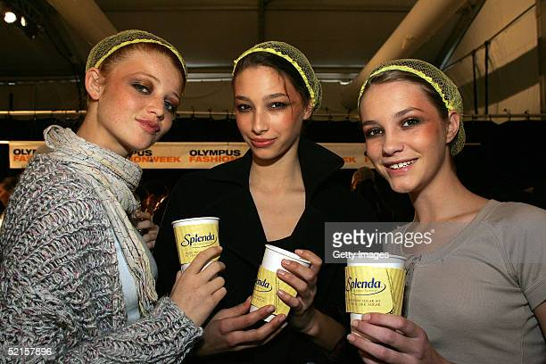 Models drink tea made with Splenda backstage at the Monique Lhuillier Fall 2005 show during Olympus Fashion Week at Bryant Park February 8 2005 in...