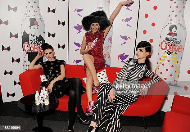 Models Eliza Cummings Lily McMenamy and Ginta Lapina attend a party celebrating 30 years of Diet Coke and announcing designer Marc Jacobs as Creative...